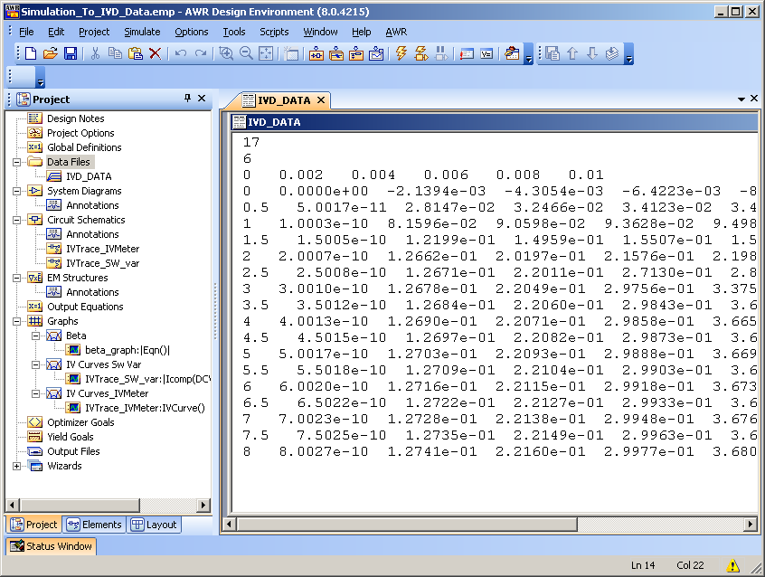 Convert Simulated IV Data into an IVD File - Help - AWR